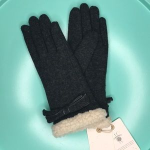 NWT! LOOK Cashmere Shearling Trimmed Ribbon Gloves